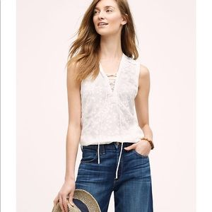 Maeve (Anthro) Embroidered Lace Up Tank